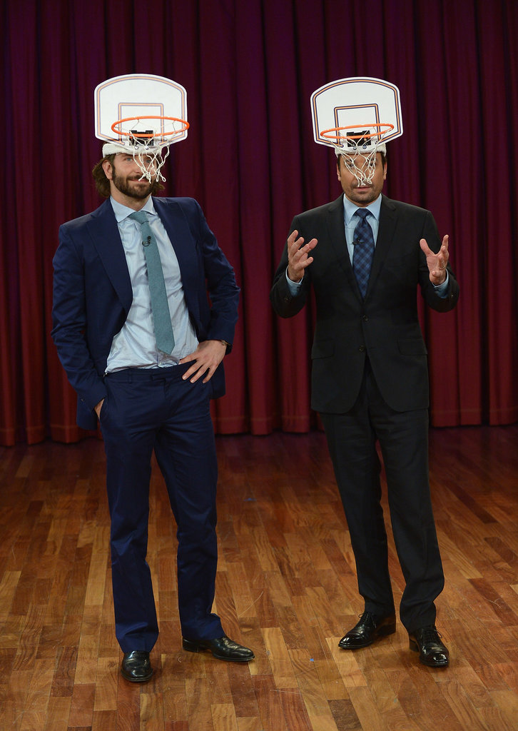 Bradley Cooper wore a mini basketball hoop on his head on Late Night With Jimmy Fallon.