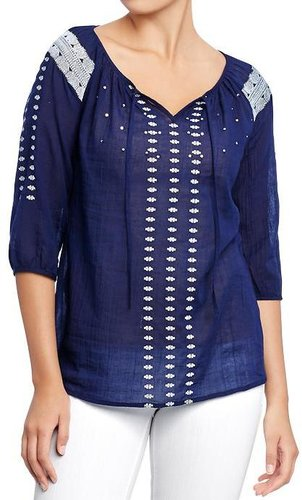 Women's Embroidered Gauze Blouses