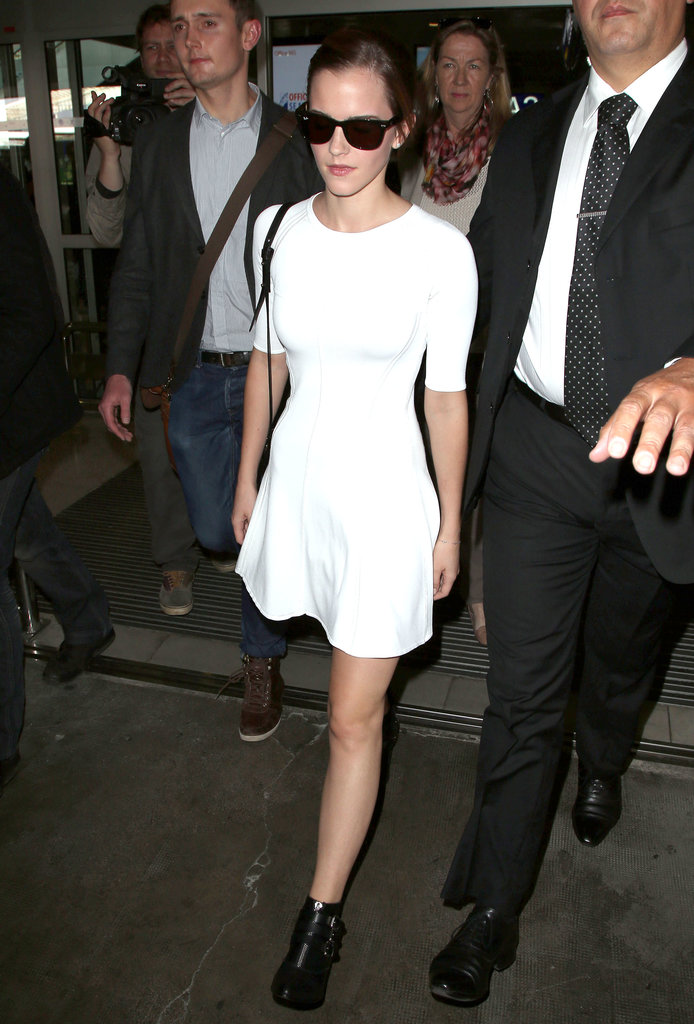 Emma Watson landed at Nice airport in France on Tuesday.