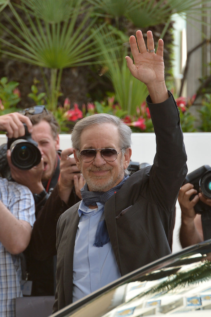 Steven Spielberg waved to the crowd as she arrived early for the Cannes Film Festival on Tuesday.