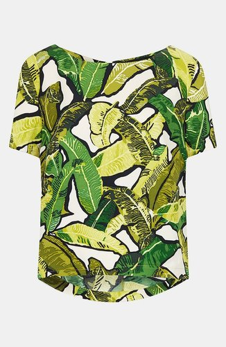 Topshop Banana Leaf Print Top