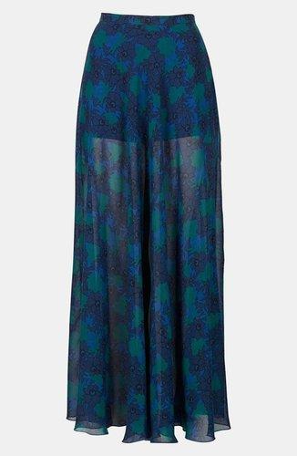 Topshop Lace Print Maxi Skirt