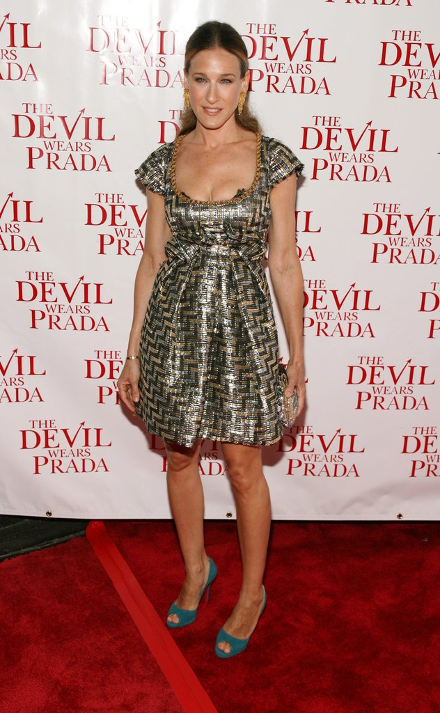 For the Fox premiere of The Devil Wears Prada, Parker radiated in a brocade mixed-metal mini and teal peep-toe platforms. Dripping gold earrings and a poufed ponytail rounded out her late-night look.