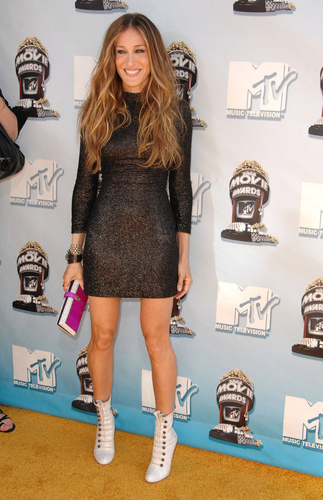 At the 2008 MTV Movie Awards, SJP went Cali cool in a sparkly long-sleeved L'Wren Scott and white leather Christian Louboutin lace-ups.