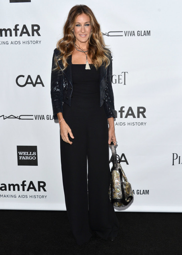 The trendsetter accessorized her black wide-leg Chanel jumpsuit with a navy sequined shrug and not one but two necklaces — a Fenton black crystal choker and silver tassel creation — at the amfAR Gala in October 2012.