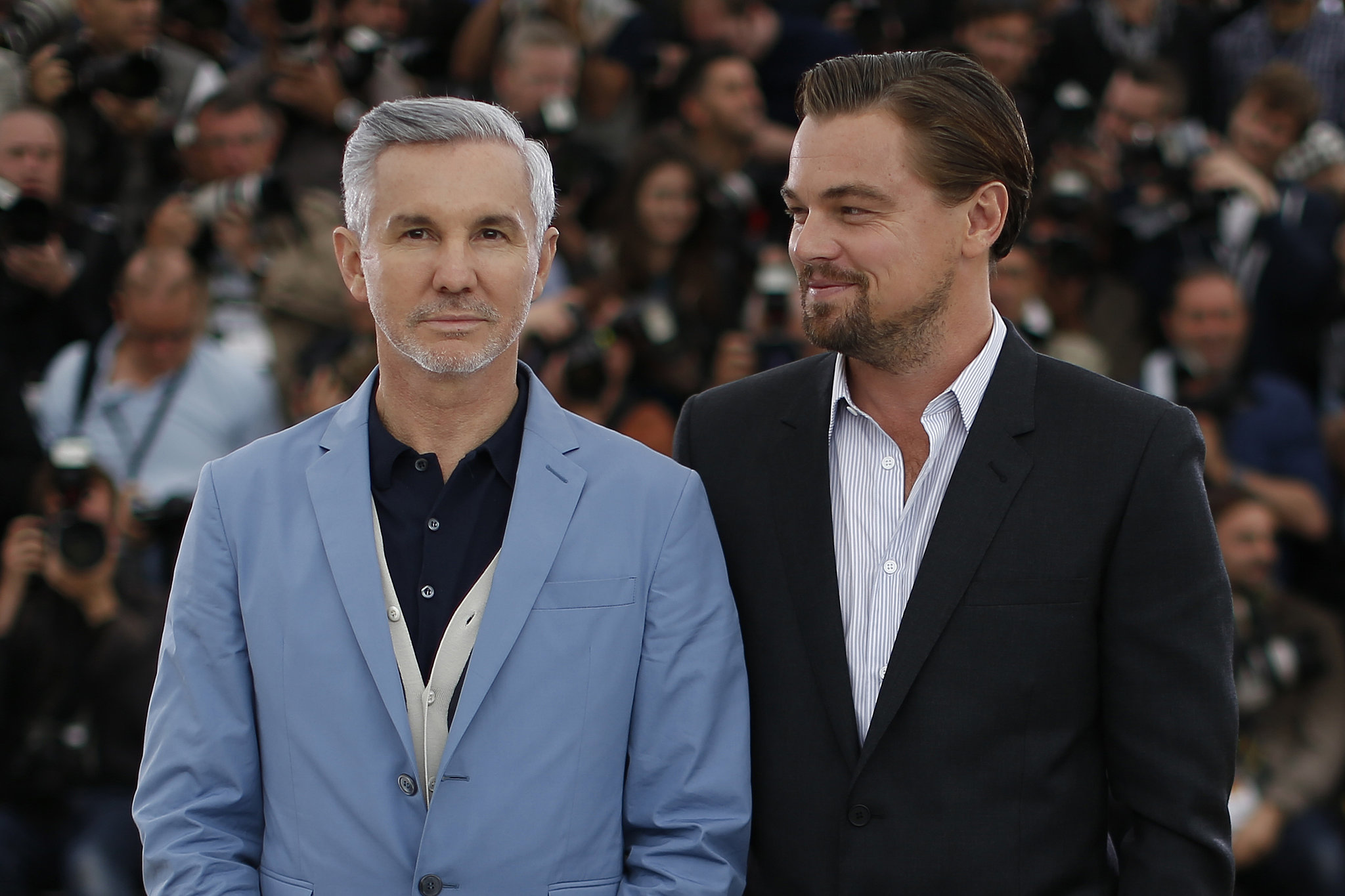 Leonardo DiCaprio and Baz Luhrmann faced the cameras at a photocall for The Great Gatsby.