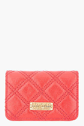 MARC JACOBS quilted red leather Business Card Holder