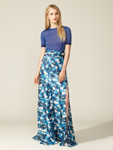 Silk Slit Hem Maxi Skirt