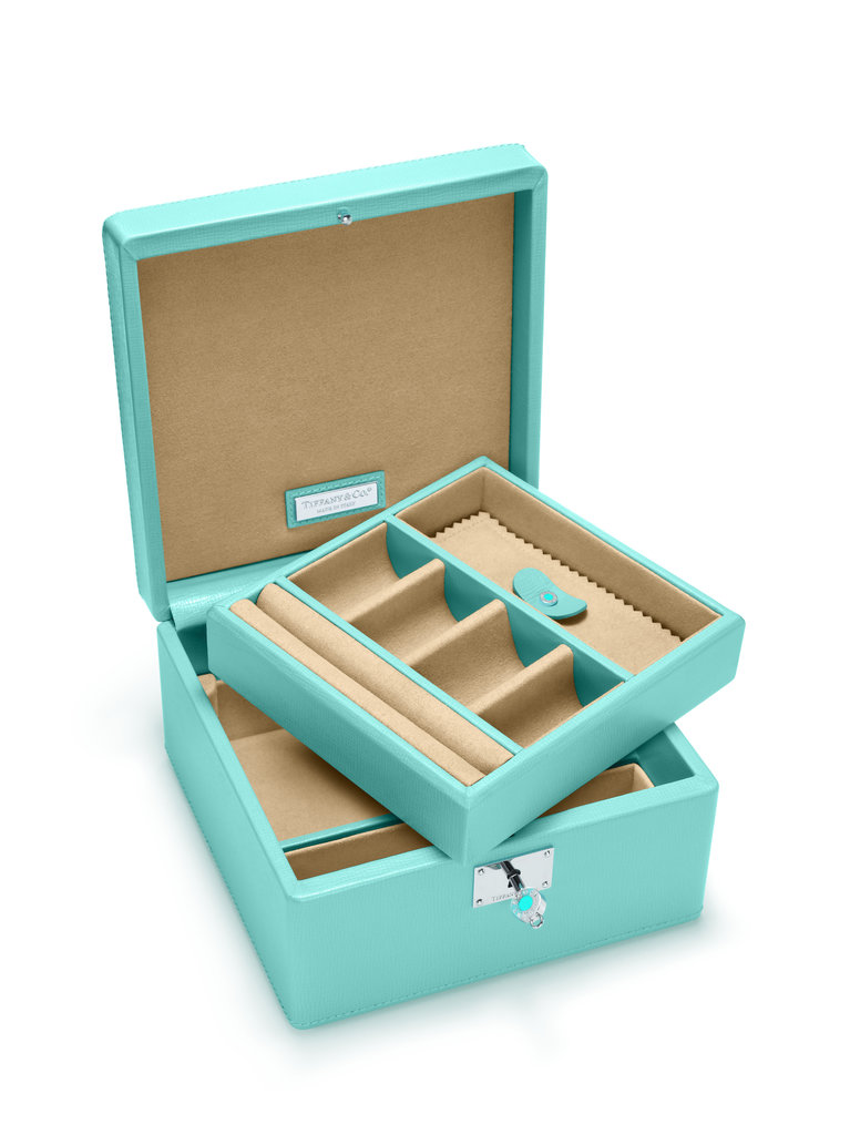 A practical pick that will look gorgeous sitting out almost doubles as two gifts! The smart dividers of Tiffany & Co.'s jewelry box ($835) will fight clutter, and that classic blue . . .  no words required.
