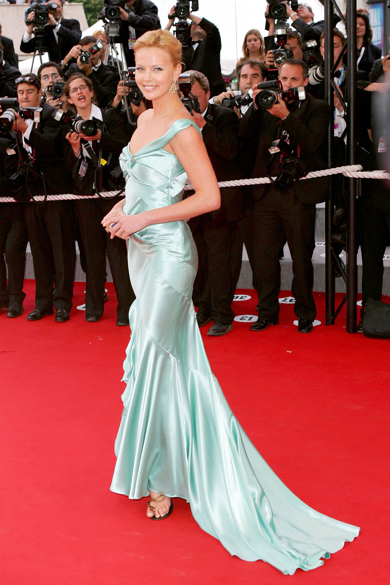 Charlize Theron wore a seafoam Christian Dior gown at the 2004 premiere of De Lovely.