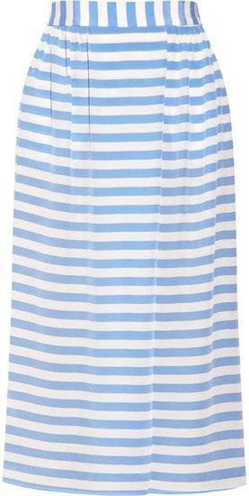 Tucker Striped silk crepe de chine skirt