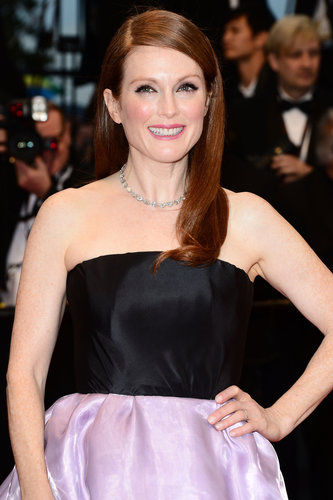 Julianne Moore wore an array of pastel shades ranging from her pale purple lids to her lavender skirt at the opening premiere of The Great Gatsby at Cannes.