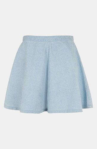 Topshop Moto Acid Wash Denim Skater Skirt