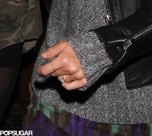 A close-up shot of Keira Knightley's wedding and engagement rings.