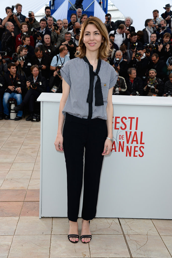 Sofia Coppola looked easy and polished in a Louis Vuitton bow-tied blouse and trousers at the The Bling Ring photocall.