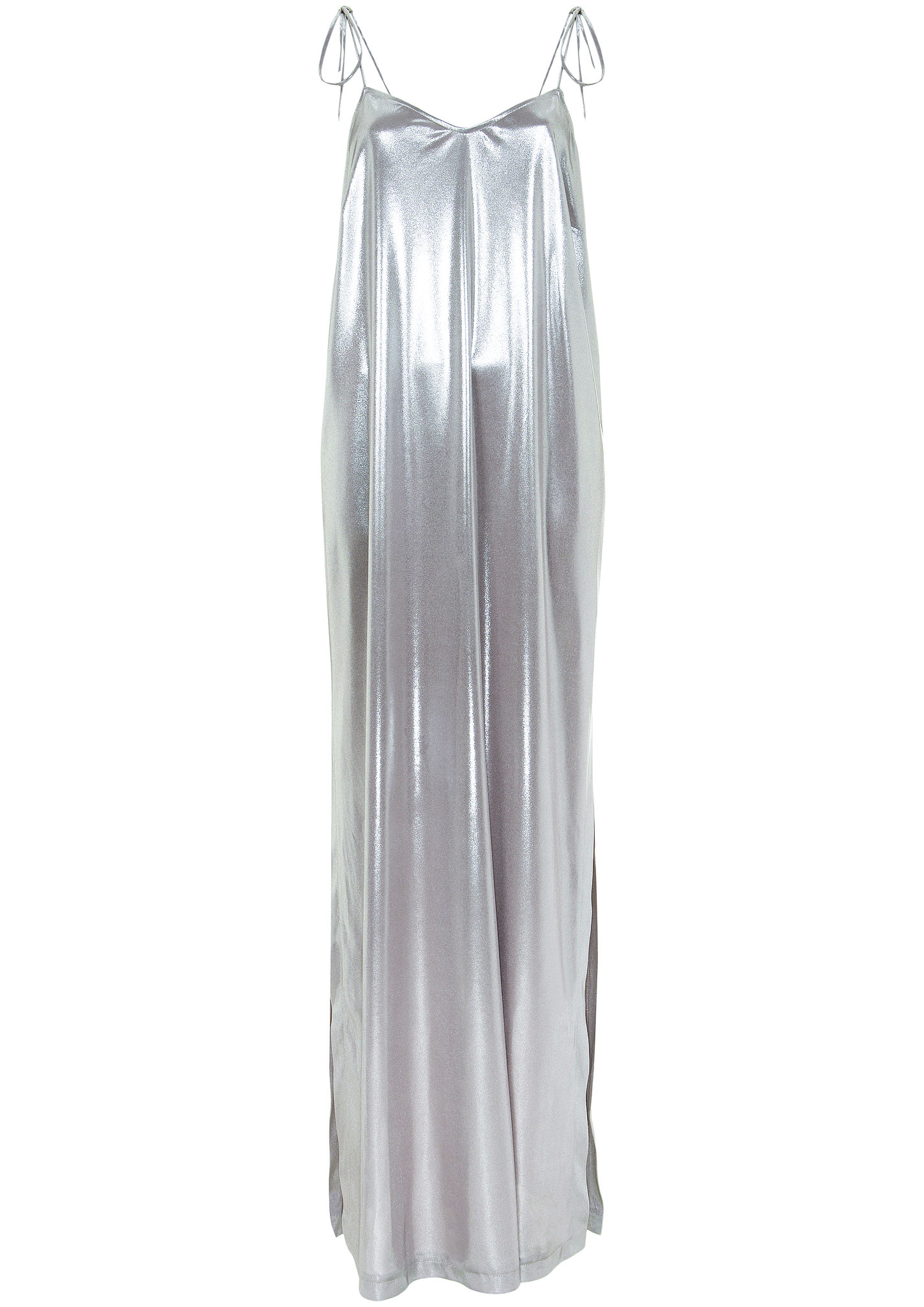 Slinky Silver Slip Dress