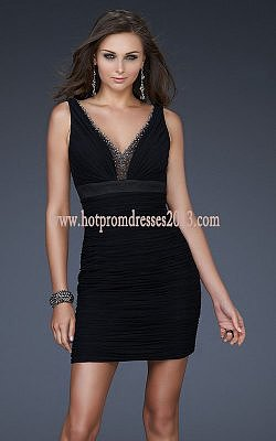 Black V-Neck Two Strap Short Prom Dress Cheap