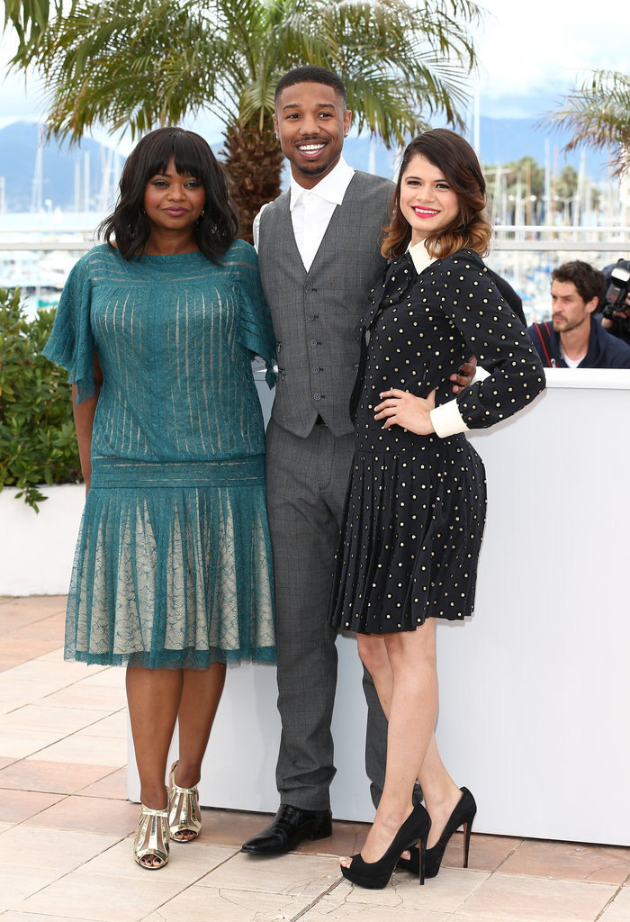 Octavia Spencer joined her Fruitvale Station costars Melonie Diaz and Michael B. Jordan at a Thursday photocall.