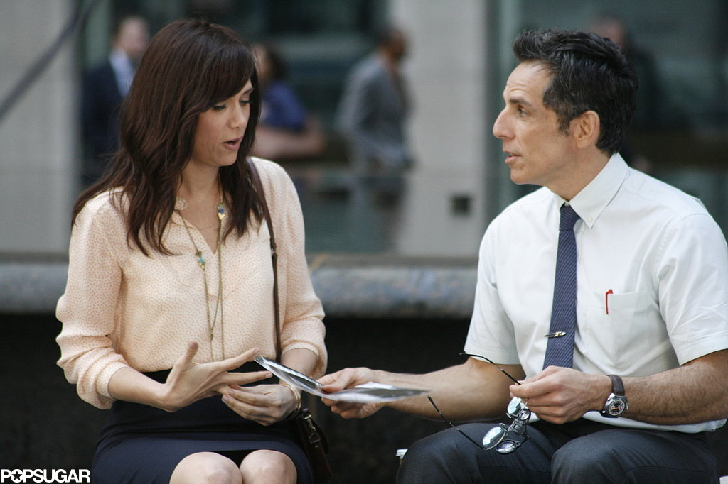 Kristen Wiig and Ben Stiller filmed The Secret Life of Walter Mitty in NYC on Wednesday.