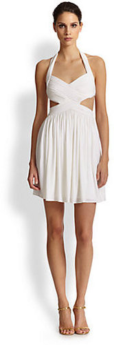BCBGMAXAZRIA Shea Cutout Halter Dress