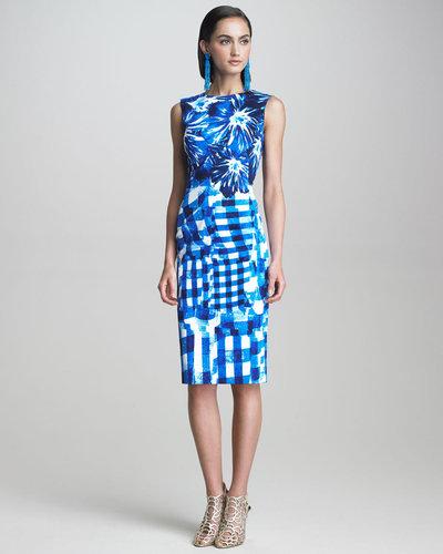 Oscar de la Renta Floral & Gingham Dress