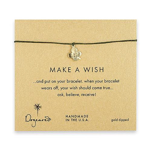 make a wish four leaf clover bracelet on leaf, gold dipped