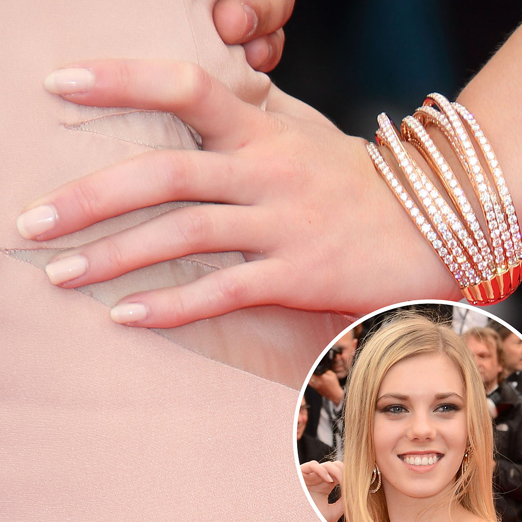 At the premiere of The Bling Ring, actress Claire Julien matched her pale nude manicure to her sexy dress.