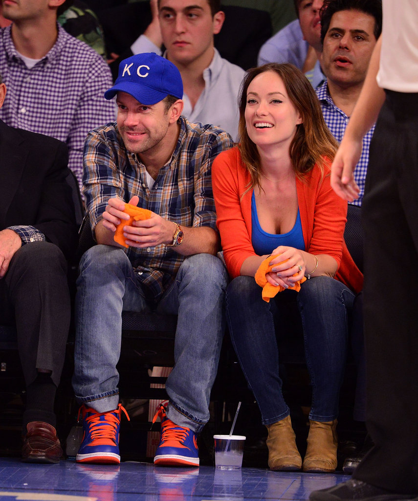 Olivia Wilde showed her pride for the New York Knicks in a blue tank and orange cardigan during the playoff game vs. the Indiana Pacers in May.