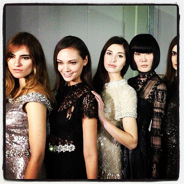 Models lined up to take the stage for Collette Dinnigan in Singapore. Source: Instagram user stylemeromy