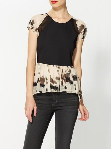 Line & Dot Dalmatian Mix Silk Peplum Top