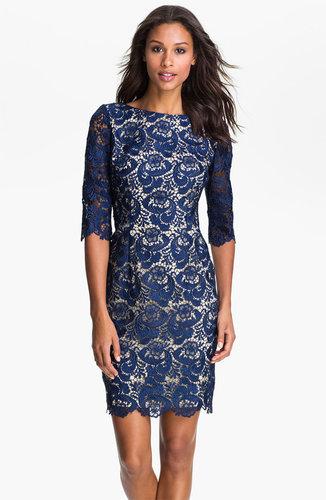Eliza J Embroidered Lace Overlay Sheath Dress