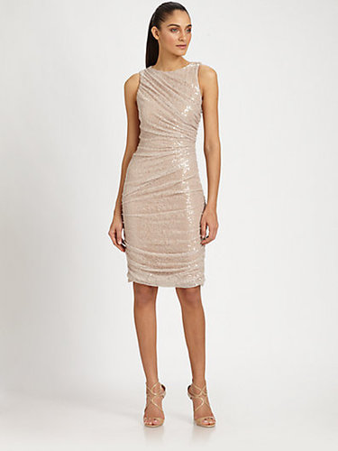 Carmen Marc Valvo Sequined Lace Dress