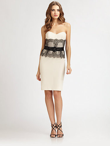 Badgley Mischka Lace-Trimmed Strapless Dress