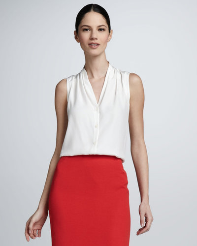 Lafayette 148 New York Sleeveless Button-Front Blouse