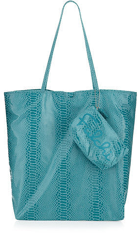 Carlos Falchi Medium Snake-embossed Tote, Aqua