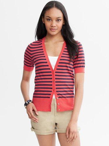 Striped Short-Sleeve Cardigan