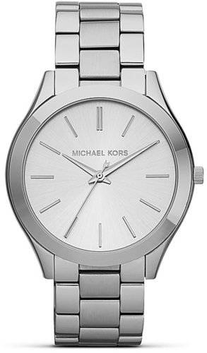 Michael Kors Slim Silver Case Runway Bracelet Watch, 42mm