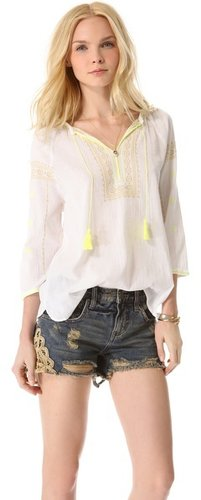 Maison scotch Bohemian Top with Fluorescent Embroidery