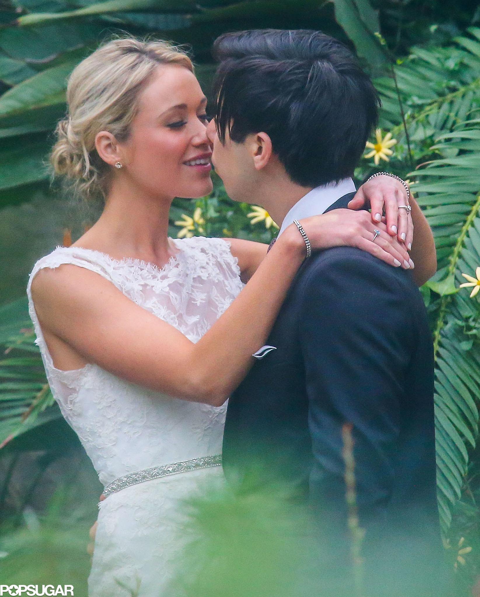 Katrina Bowden and Ben Jorgensen kissed at their Brooklyn wedding.