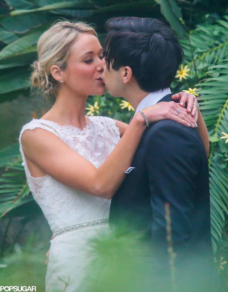 Katrina Bowden and Ben Jorgensen at their wedding.