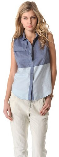 State & lake Sleeveless Chambray Shirt