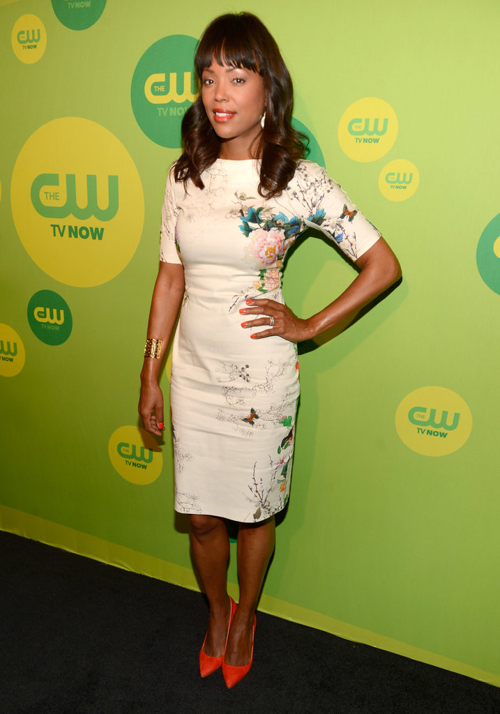 Aisha Tyler's floral sheath dress got a major jolt thanks to her neon orange pumps at the CW upfronts in NYC.