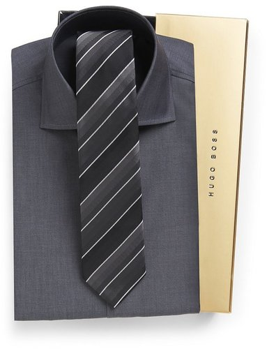 'Jaron' | Slim Fit Dress Shirt and Tie Gift Set by BOSS