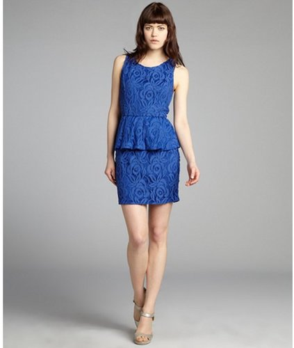 Casual Couture by Green Envelope cobalt blue lace peplum crisscross back party dress