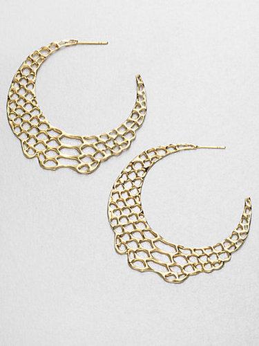 Elizabeth and James Openwork Hoop Earrings/18K Goldplated