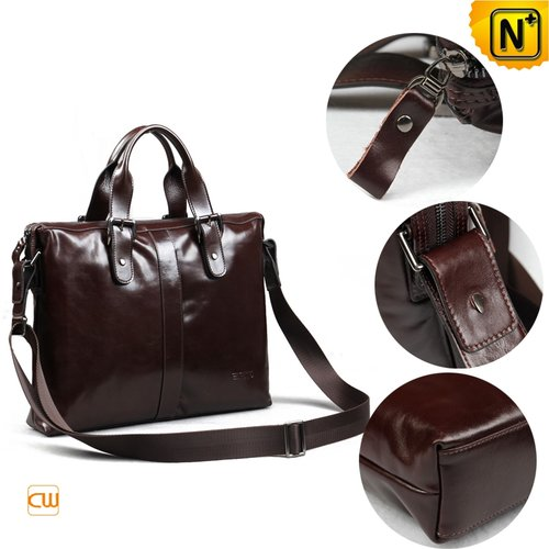 Mens Brown Leather Briefcase CW913105 - cwmalls.com