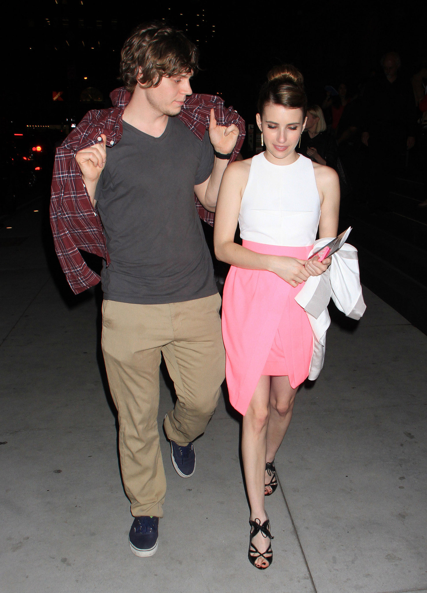"Emma Roberts left Glamour's ""These Girls"" event with boyfriend Evan Peters in NYC."