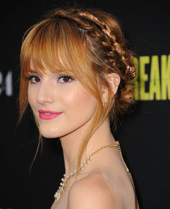 Bella-Thorne-twisted-pink-ribbon-her-braids-Spring