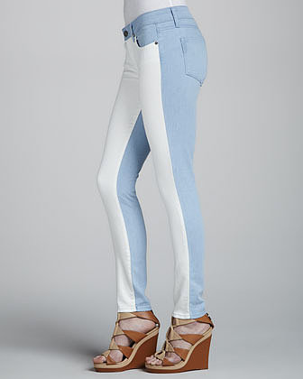 Paige Denim Emily Ultraskinny Colorblock Jeans, Cloud/White