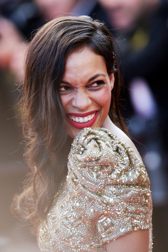 Rosario Dawson smiled on the red carpet at the Cannes Film Festival on Tuesday for the Cleopatra screening.